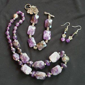 Amethyst Stone Jewelry Set